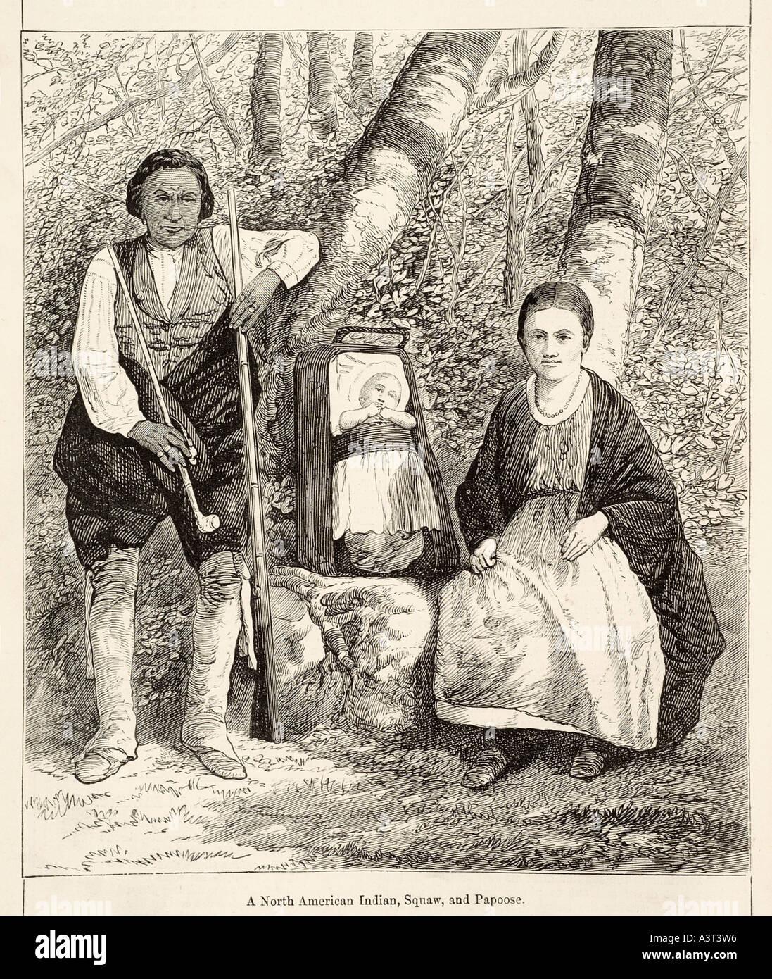 Indian squaw papoose tribu americana nativa de América hombre mujer bebé  plantean bosque madera noble salvaje 4bcee522d178