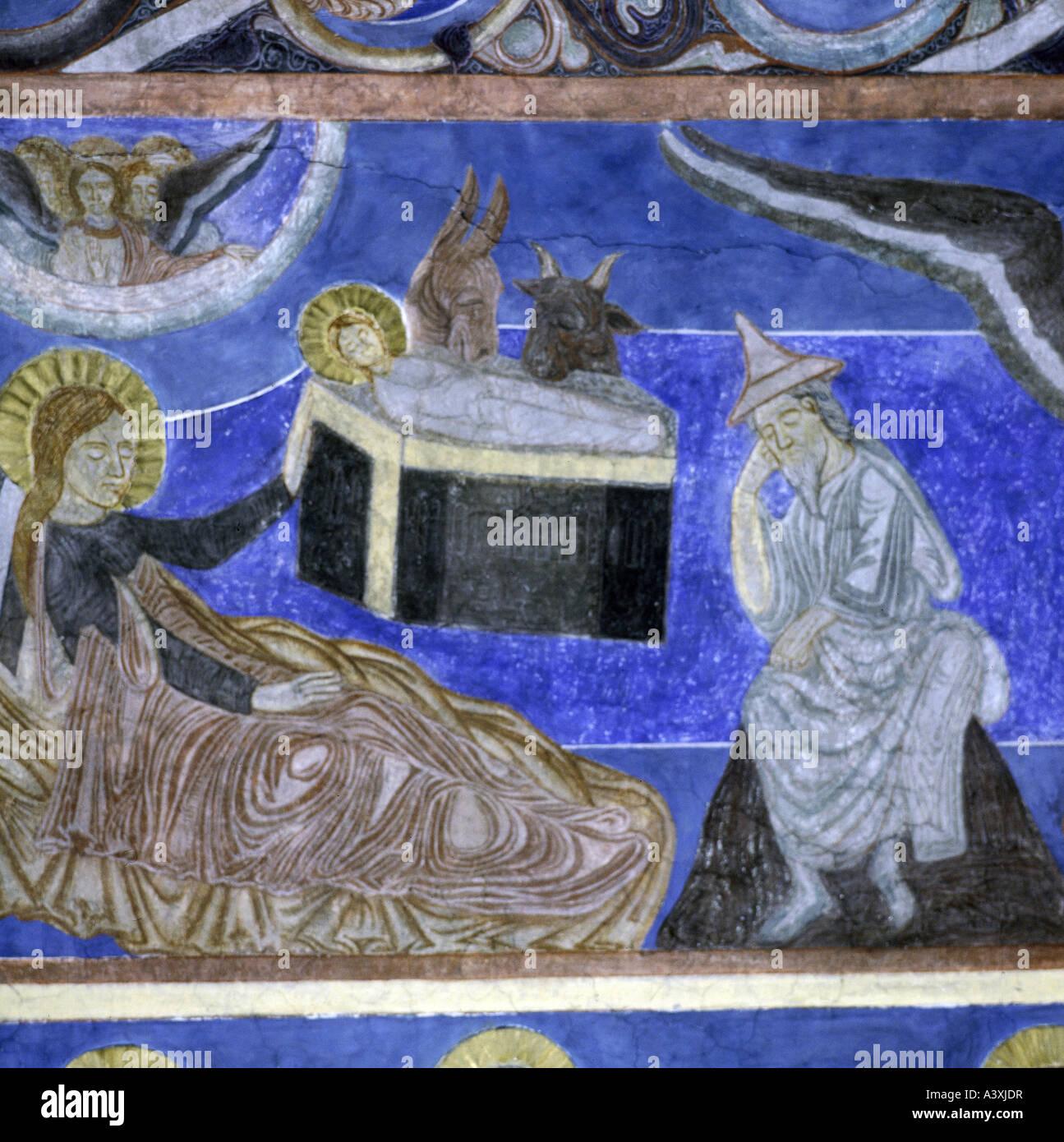 Bellas artes, arte religioso, Jesucristo, nacimiento, pintura, fresco, del siglo XIII, iglesia de Bjäresjö, Imagen De Stock