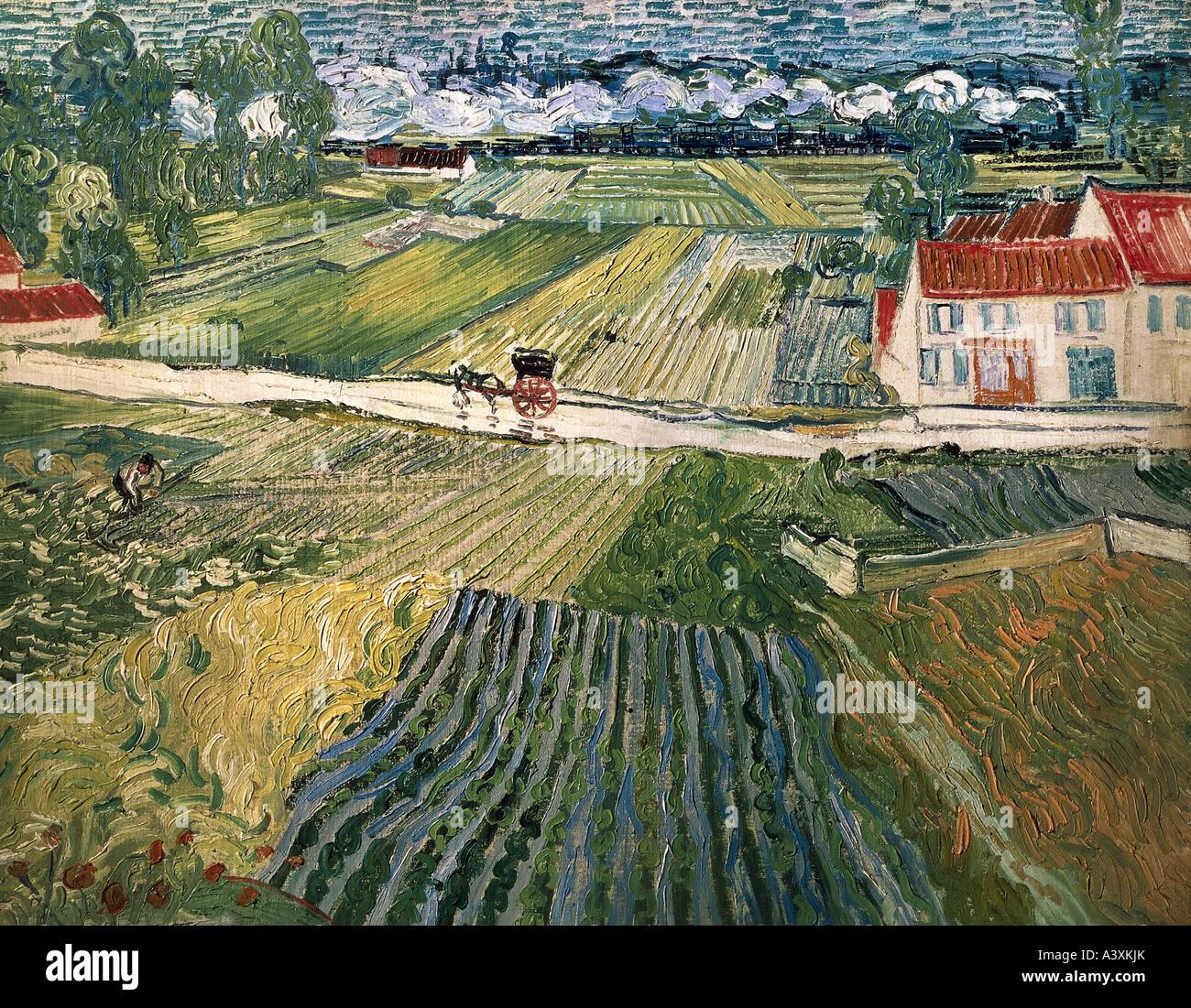 """""""Bellas Artes, Vincent van Gogh, (1853 - 1890), pintura, 'paisaje con caballos y tren de fondo', 1890, Imagen De Stock"""