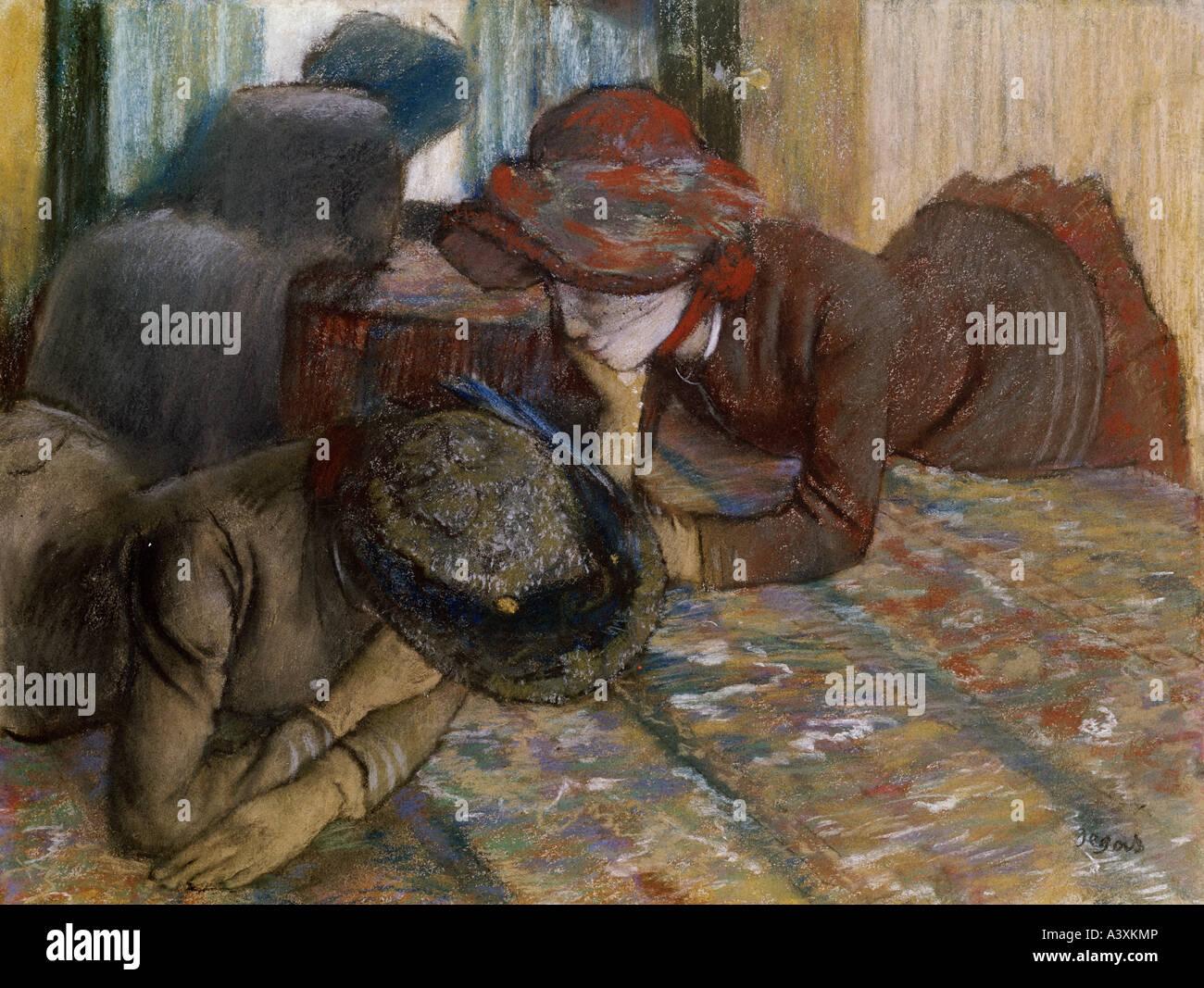 """""""Bellas Artes, Degas, Edgar (1834 - 1917), la pintura, la """"conversación"""", pastel sobre papel, National Gallery, Londres, histórica, histor Foto de stock"""