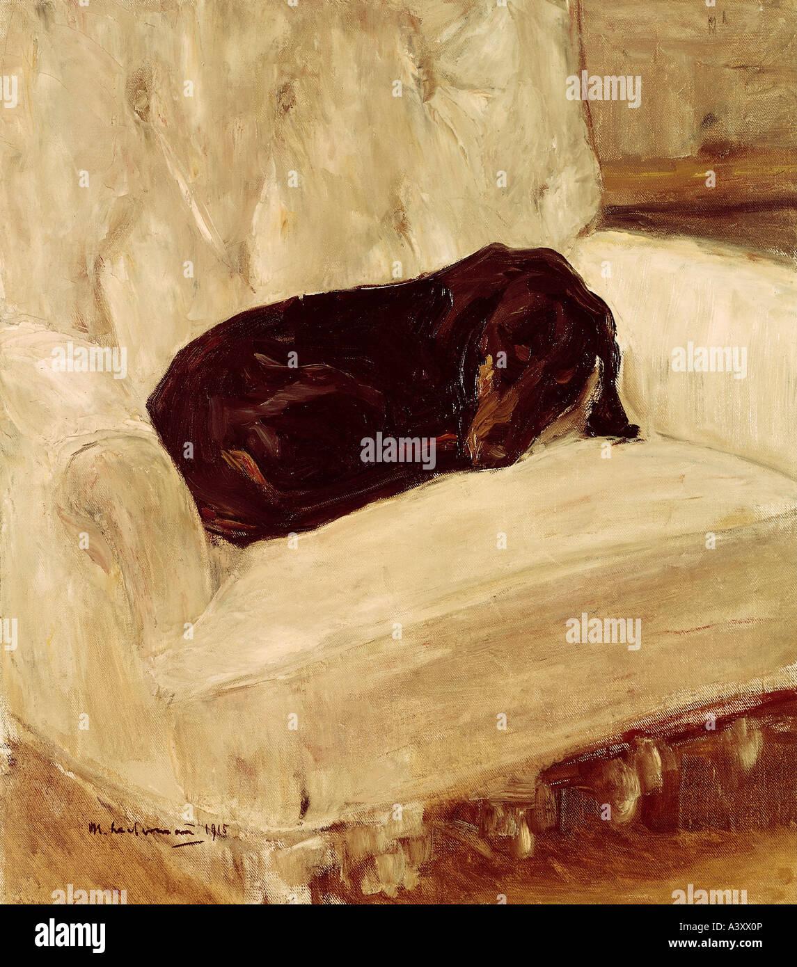 """""""Bellas Artes, Liebermann, Max (1847 - 1935), pintura, 'Schlafender Dackel', (Teckel """"dormidos""""), Imagen De Stock"""