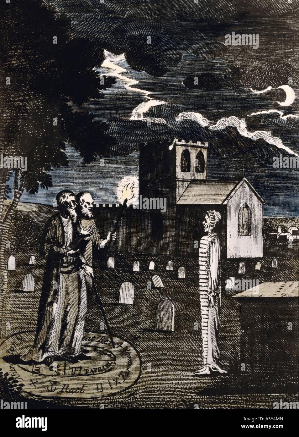 La superstición, la Necromancia, necromantes John Dee y