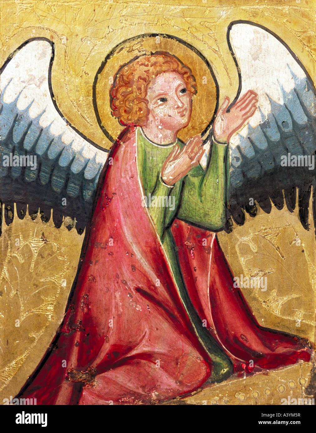 """""""Bellas Artes, arte religioso, ángeles, """"angel rezando"""", pintura, Alemania, circa 1330, óleo sobre panel, Museo Foto de stock"""