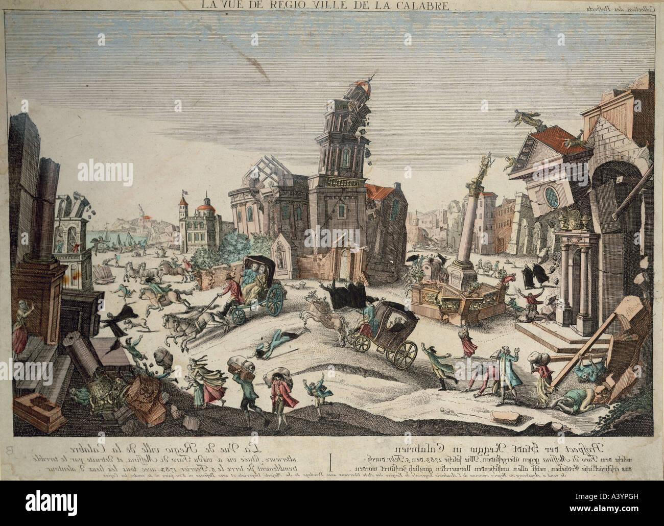 Desastre natural / catástrofe, terremoto, Reggio Calabria, 5.2.1783, Copyright del artista no ha de ser borrado Foto de stock