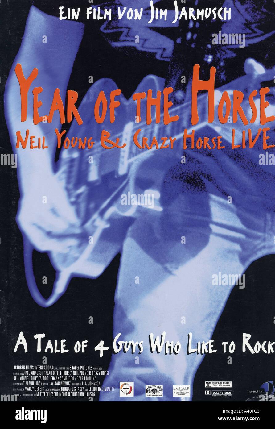 Año del Caballo cartel para 1997 Octubre /Shakey Pictures film sobre el músico Neil Young Imagen De Stock