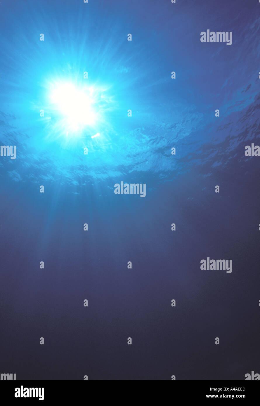 Vista submarina hacia arriba hacia la luz solar Imagen De Stock