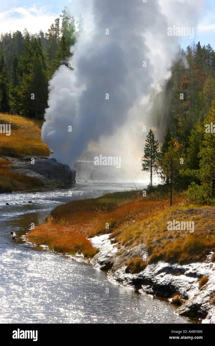 Riverside géiser, el parque nacional Yellowstone, Wyoming Foto de stock