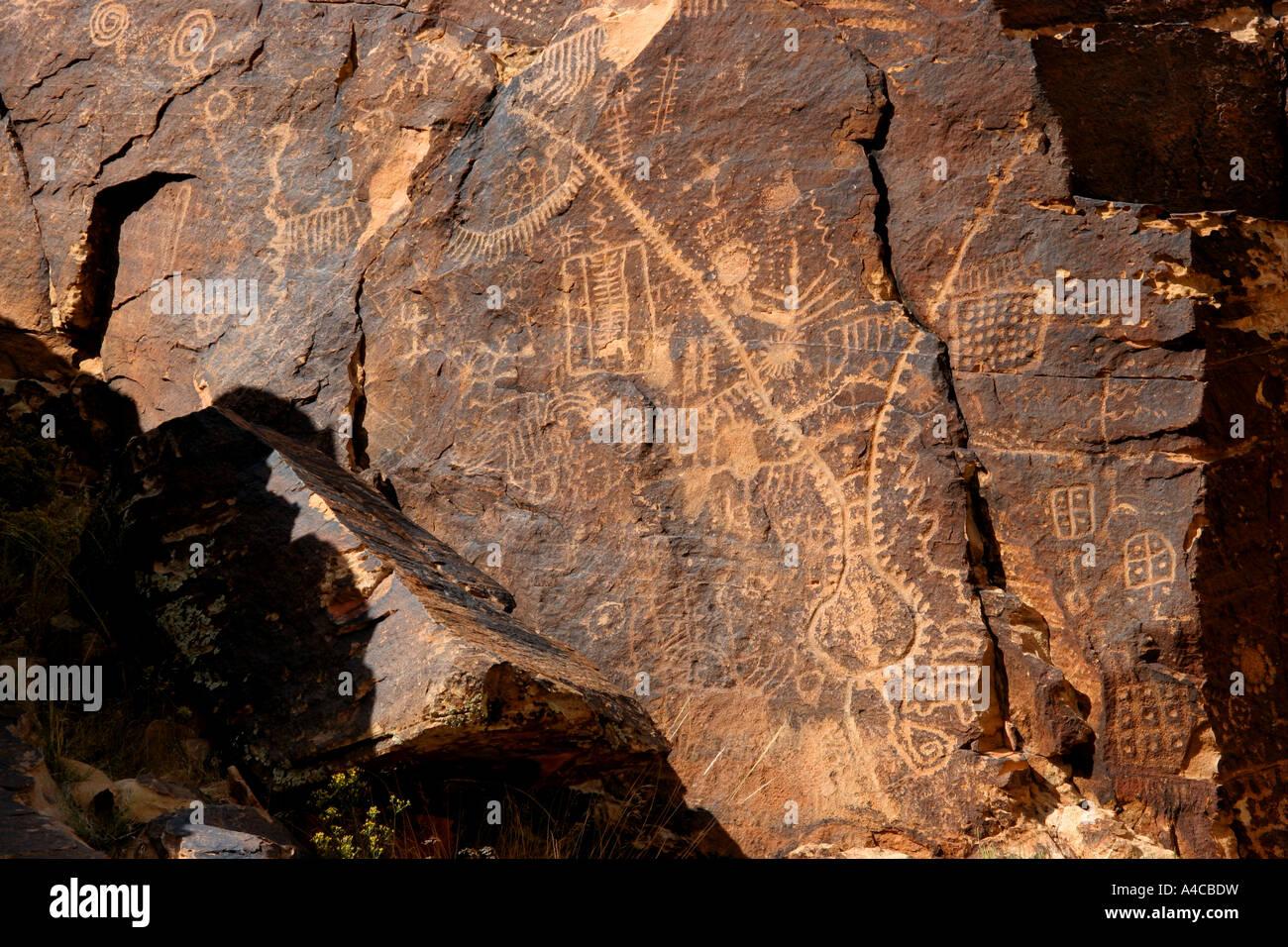Parowan gap petroglifos, Utah Foto de stock