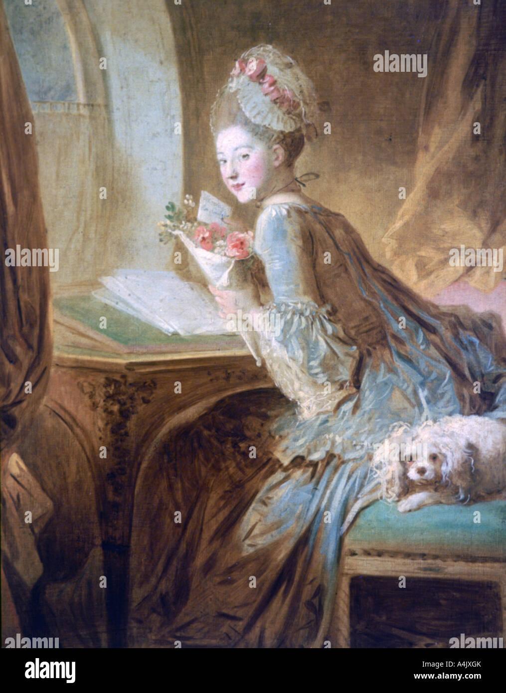 """La Carta de amor', C1770. Artista: Jean-Honore Fragonard Imagen De Stock"