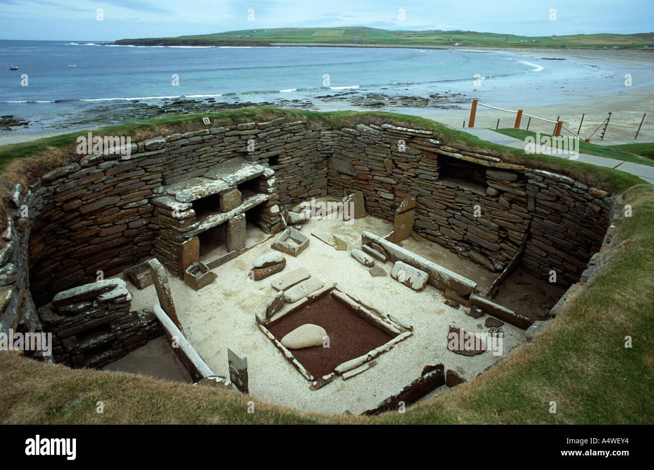 Asentamiento neolítico Skara Brae, Islas Orkney Foto de stock