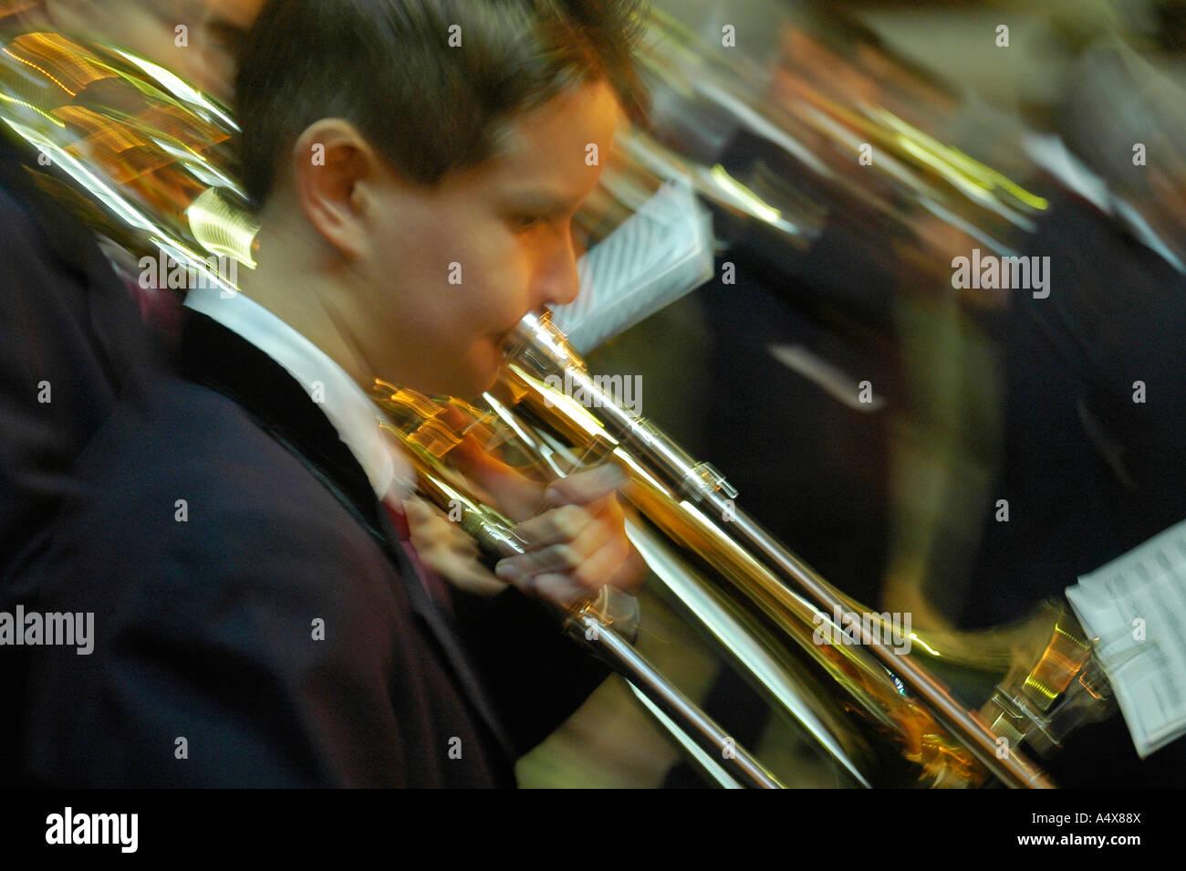 Los músicos callejeros, fiesta de la Epifanía, Altea, Costa Blanca, España Foto de stock