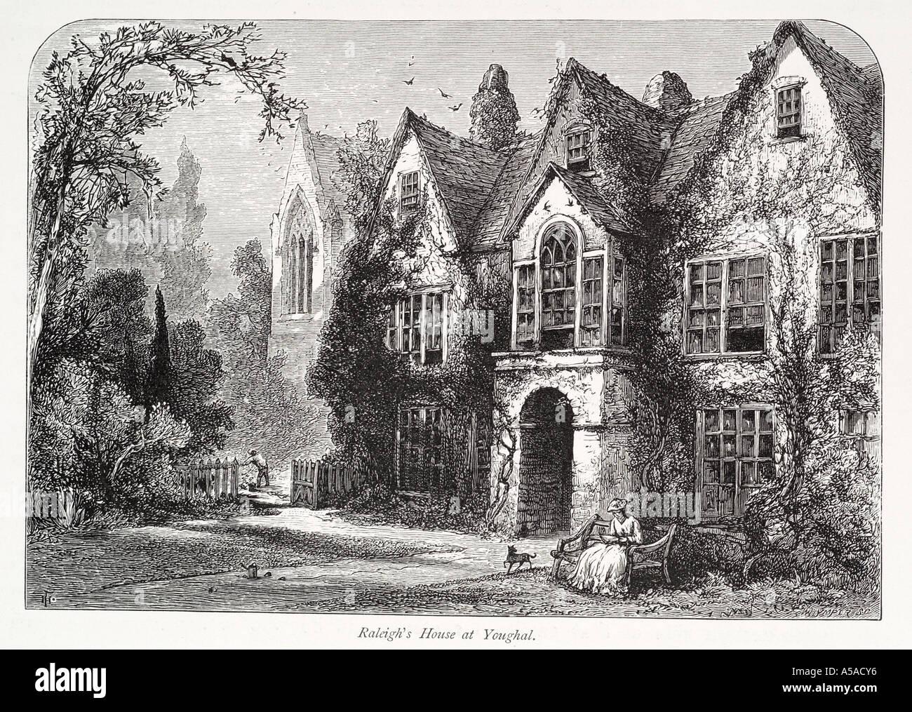 Sir Walter Raleigh residencia youghal co County Cork eochaille yew earl jardín banqueta delantera perro mujer República Foto de stock