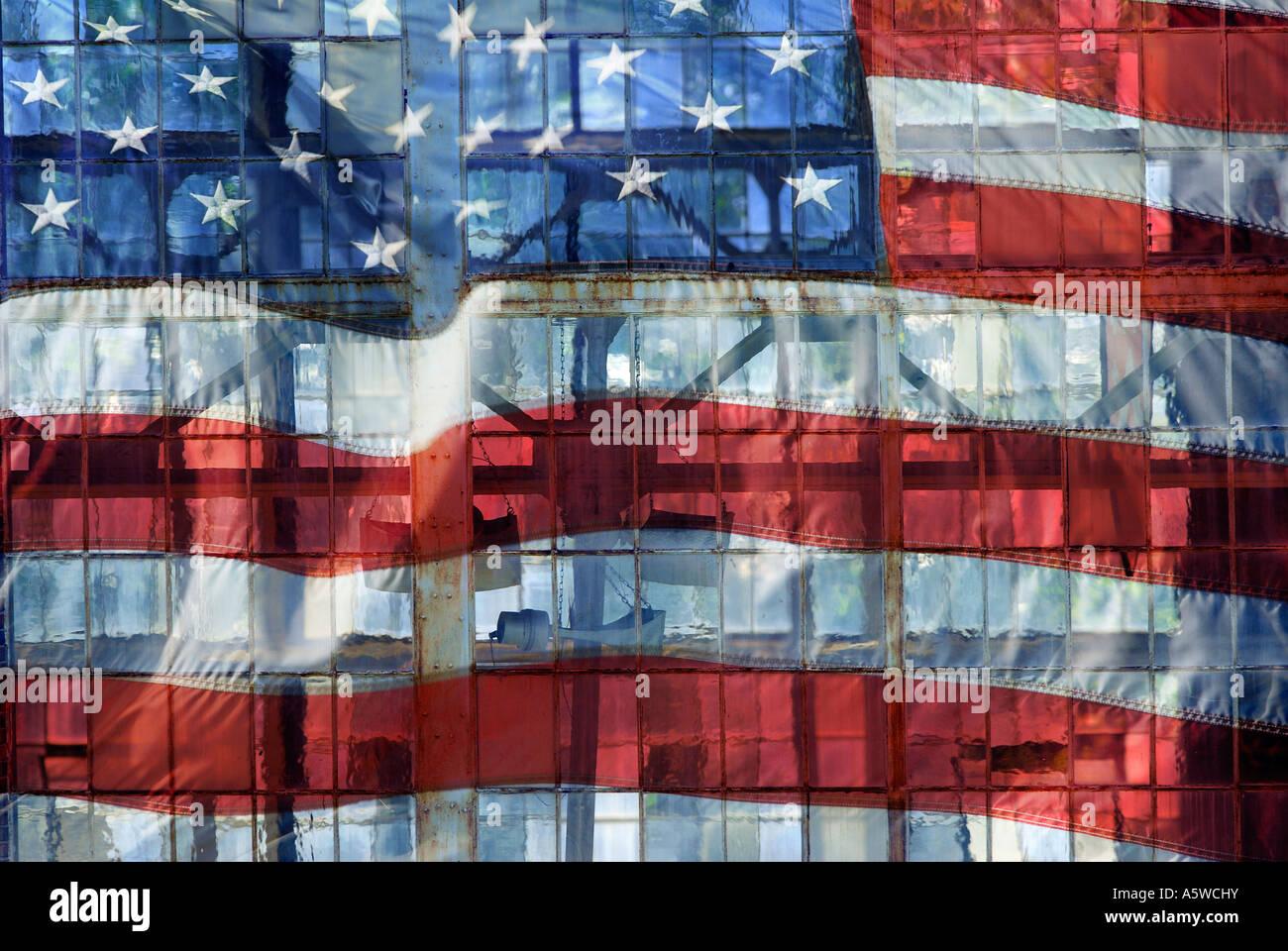 Una bandera Ilustración Collage superpuesto con las antiguas áreas industriales windows Imagen De Stock