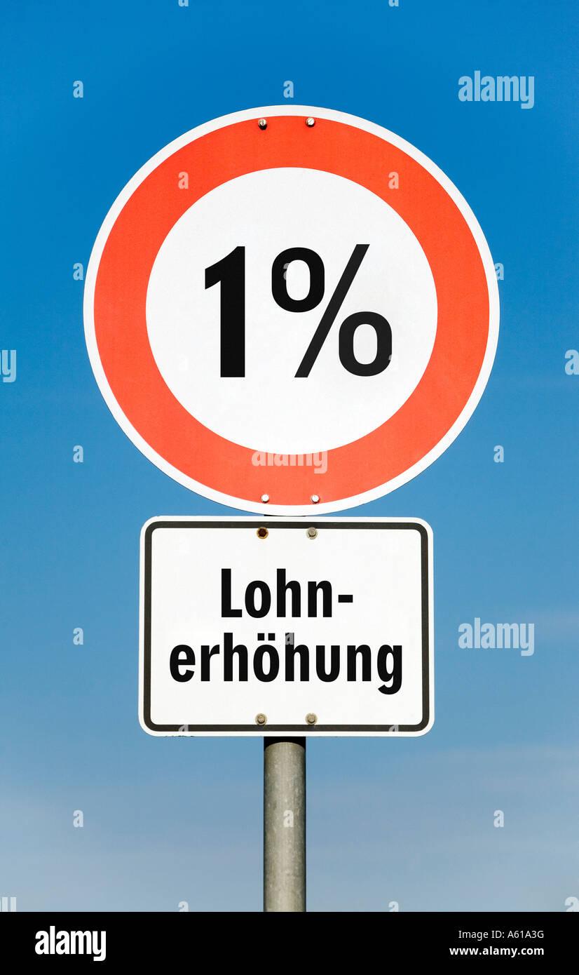 1 por ciento de aumento en los salarios Imagen De Stock