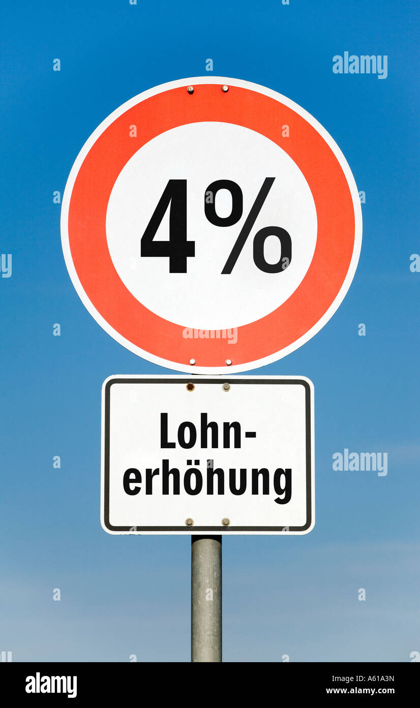 4 por ciento de aumento en los salarios Imagen De Stock