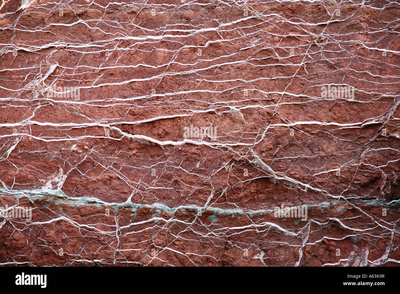 Venas de cuarzo en rojo roca metamórfica Foto de stock