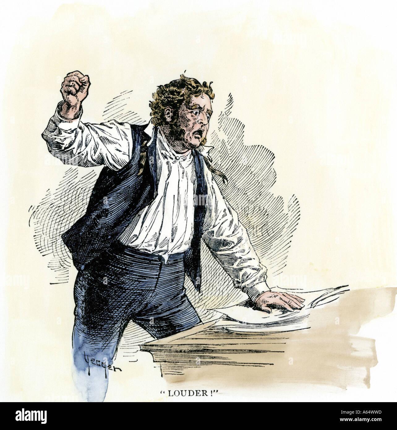 Abolicionista americano Elías P Lovejoy denunciando los propietarios de esclavos ante el Congreso de los Estados Foto de stock