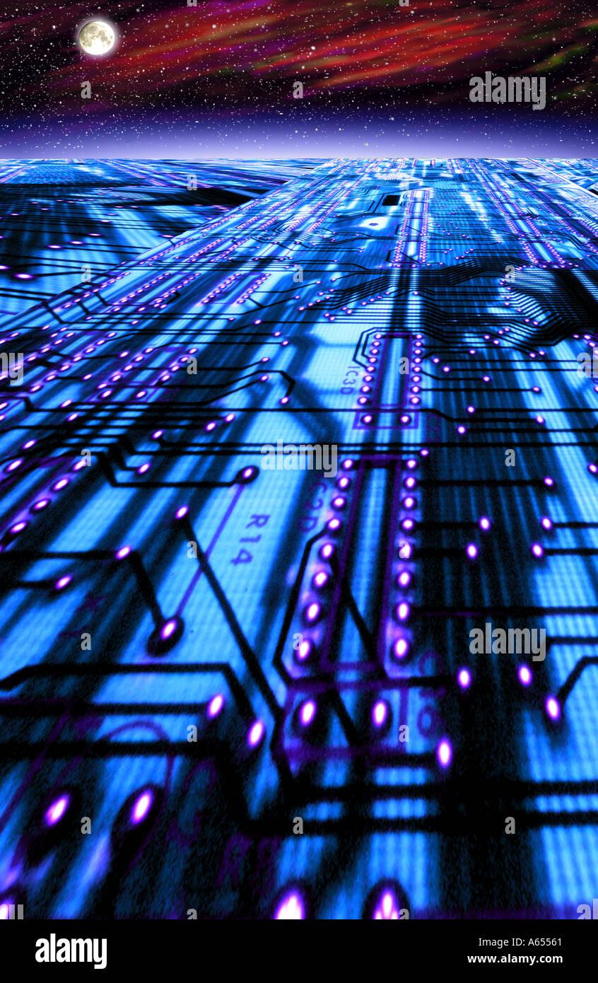 Placa de circuito en el espacio abstracto concepto efectos especiales Imagen De Stock