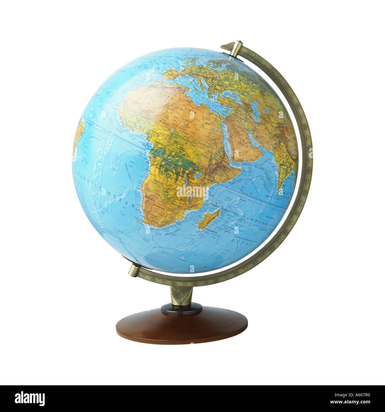 Un globo terráqueo mostrando África Imagen De Stock