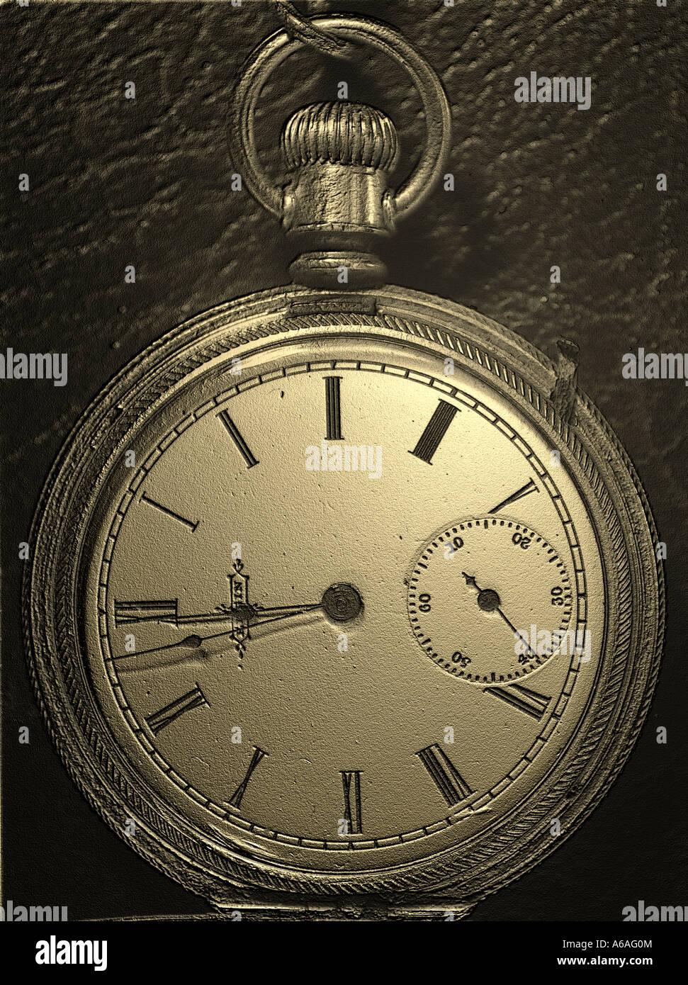 Concepto de tiempo de reloj de bolsillo con estampado de efecto digital Imagen De Stock