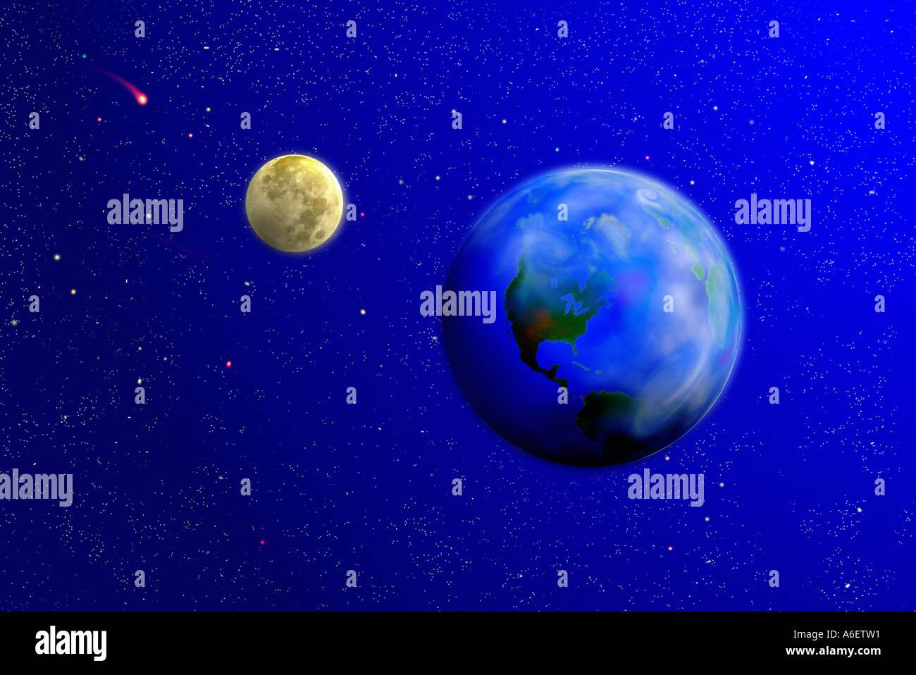 Ilustración digital del planeta Tierra y la luna contra un fondo de estrellas cometas Imagen De Stock