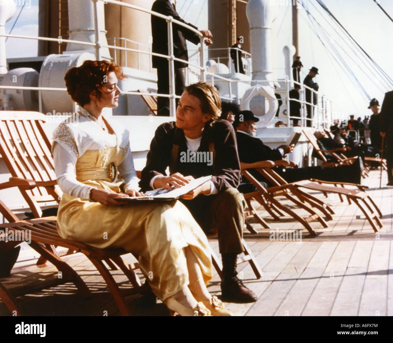 TITANIC ganadora del Oscar 1997 película de TVC con Kate Winslett y Leonardo DiCaprio Foto de stock