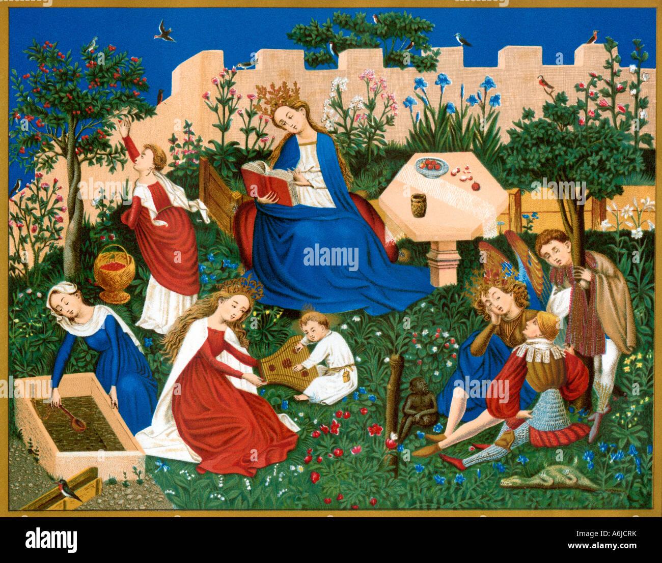 Virgen María, Reina del Cielo, presidir una asamblea de los santos. Litografía de color Imagen De Stock