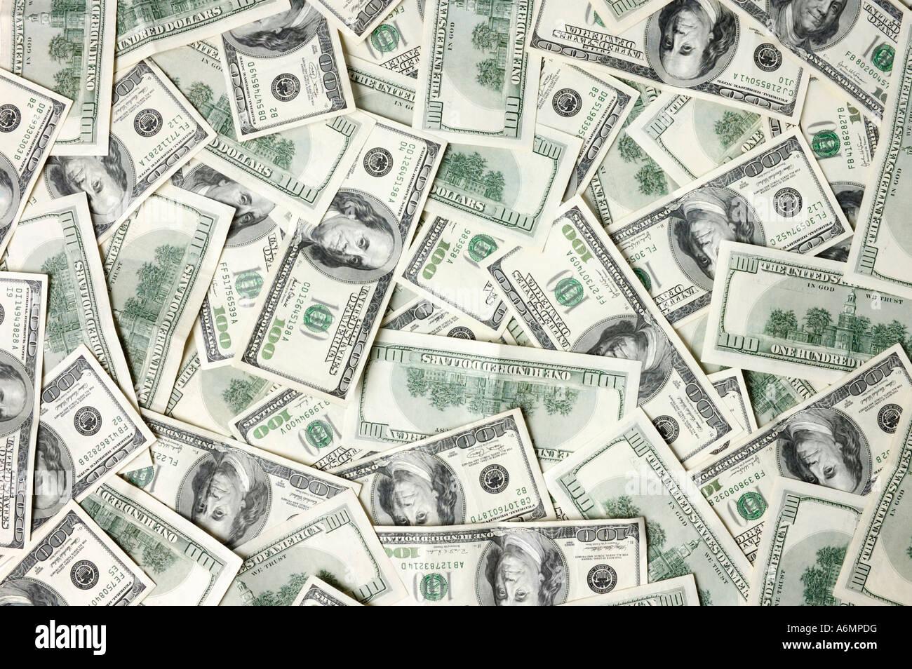 Billetes de cien dólares textura de fondo Imagen De Stock