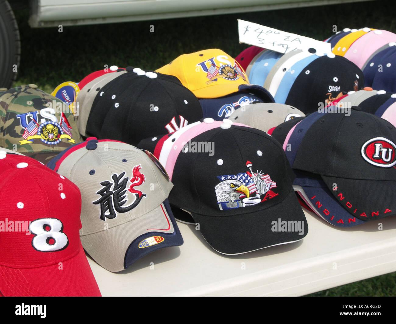 Variety Hats In Market Imágenes De Stock   Variety Hats In Market ... 158d7d34a15