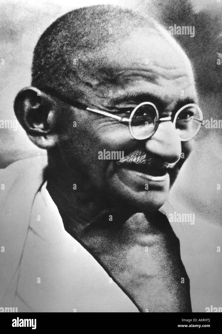 Mohandas Karamchand Gandhi, llamado Mahatma, 2.10.1869 - 30.1.1948, político indio, retrato, circa 1940, la política, Foto de stock