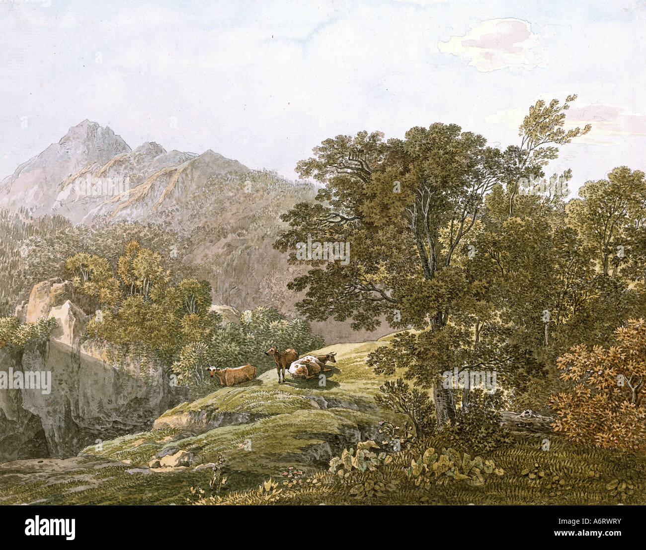 Bellas artes, Klotz, Simon (1776 - 1824), Alpine de corrales de engorde, acuarela, circa 1840, 22,3x28 cm, colección Imagen De Stock
