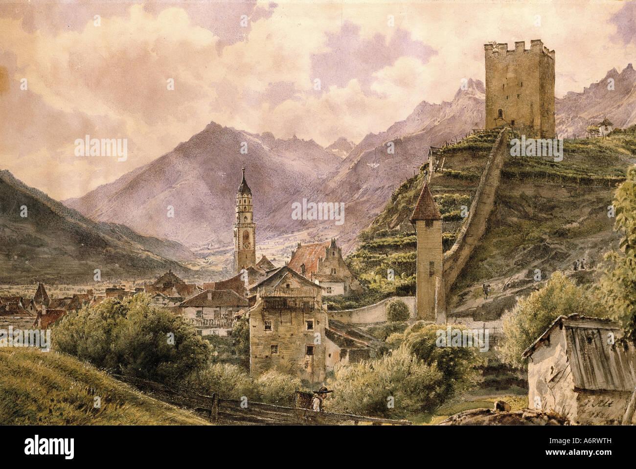 Bellas artes, Alt, Jakob (1789 - 1872), vista sobre el valle de Eisack Klausen, acuarela, 1844, 24,4x36,6 cm, colección Imagen De Stock