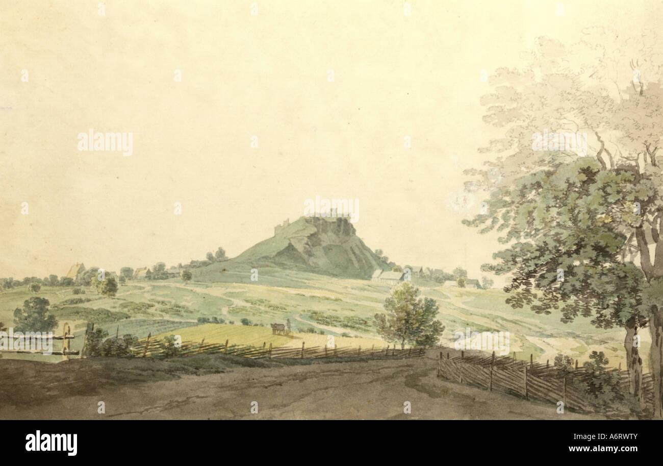 Bellas artes, romanticismo, pintura, Parkstein cerca de Weiden en el Alto Palatinado, acuarela sobre dibujo a lápiz Imagen De Stock
