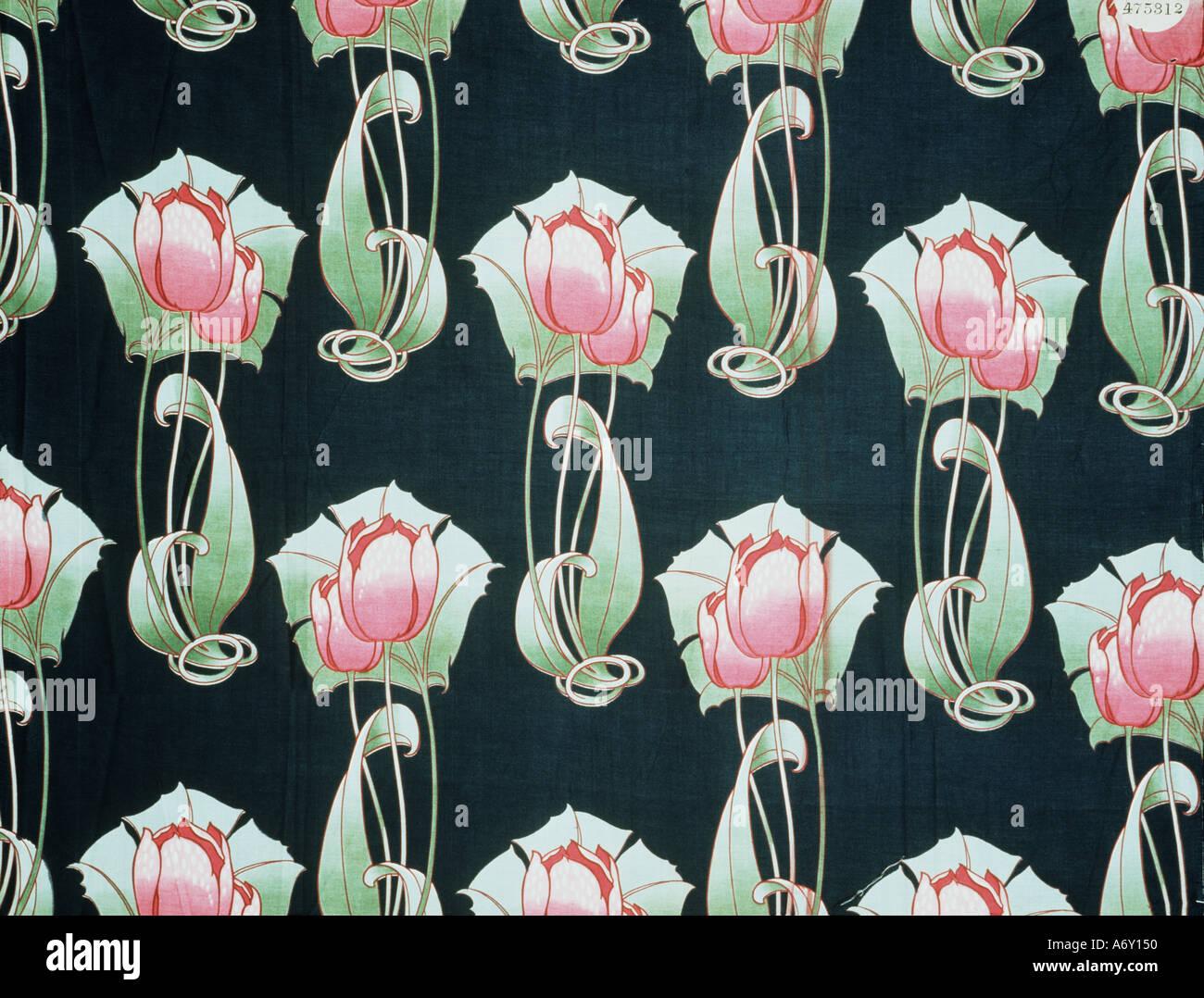 Tulip diseño de tela. Inglaterra, 1906. Imagen De Stock