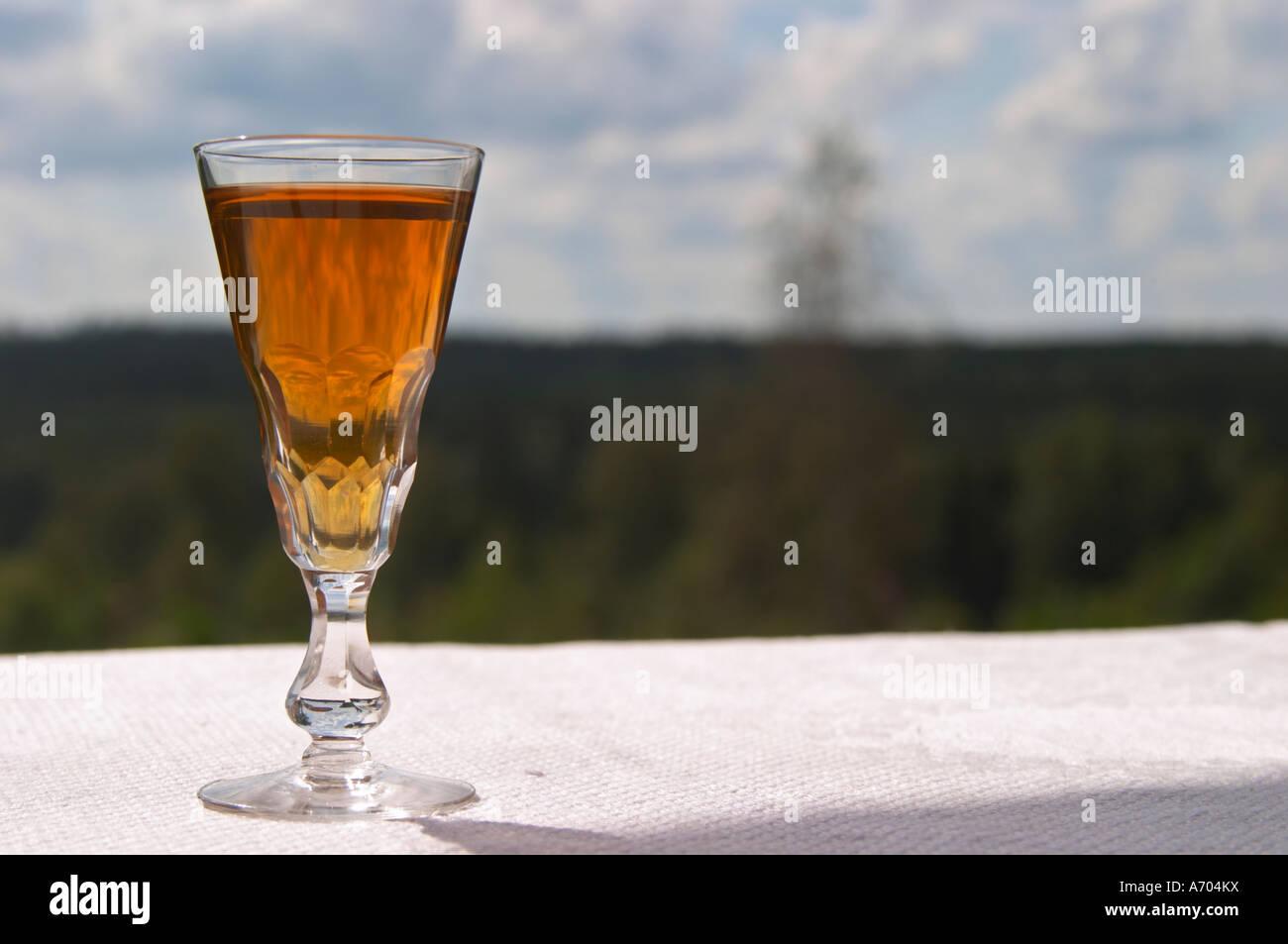 Tradicional sueco aquavit Aguardiente Cristal en forma señaló lleno hasta el borde con vodka, brannvin especiado. Foto de stock