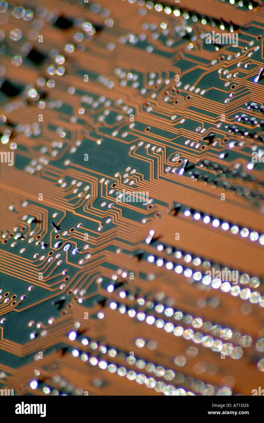 Detalle de la placa de circuito impreso del equipo Foto de stock