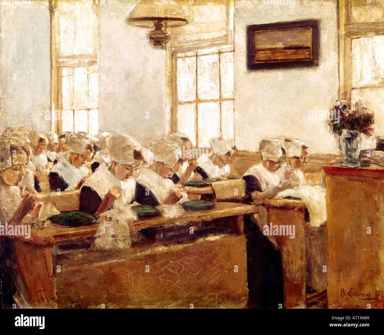 """""""Bellas Artes, Liebermann, Max (1847 - 1935), pintura, 'Holländische Nähschule', 'holandés Imagen De Stock"""