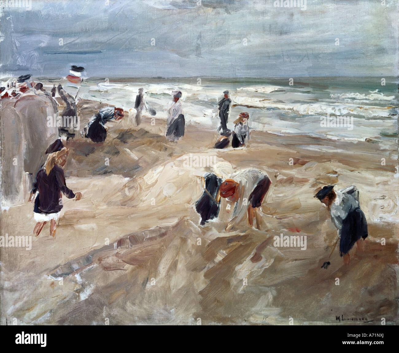 """""""Bellas Artes, Liebermann, Max (1847 - 1935), pintura, 'Strandszene en Noordwijk' ('Escena de playa Imagen De Stock"""