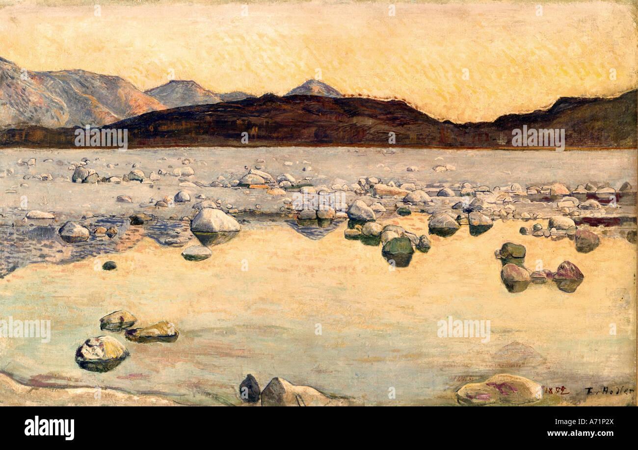 """Bellas Artes, Ferdinand Hodler (1853 - 1918), pintura, 'Seeufer' ('Lake Shore'), de 1892, Imagen De Stock"