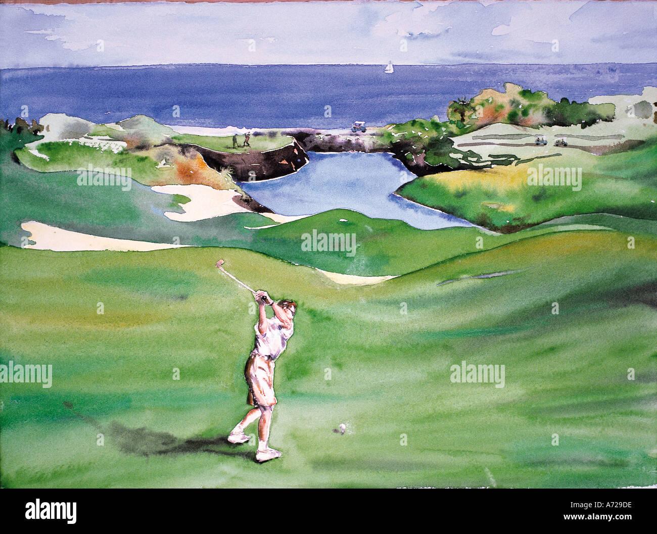 Acuarela de golf en Hawai Imagen De Stock