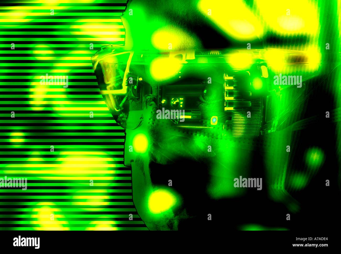Robot técnico en un laboratorio de equipos de alta tecnología Resumen Imagen De Stock
