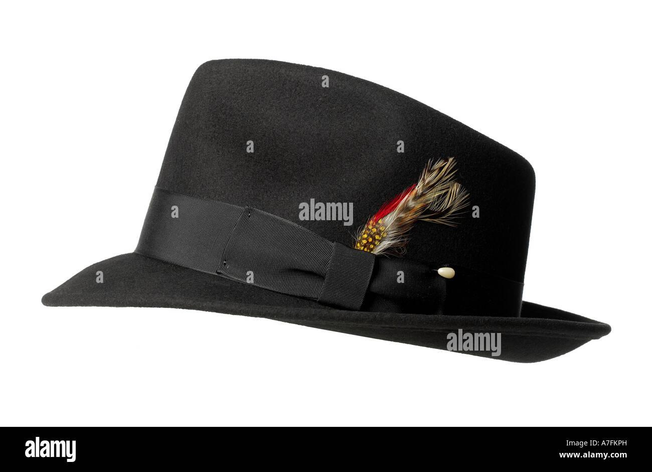 El hombre del sombrero Fedora fieltro negro Accesorio de plumas Foto ... cc22a05e8f4