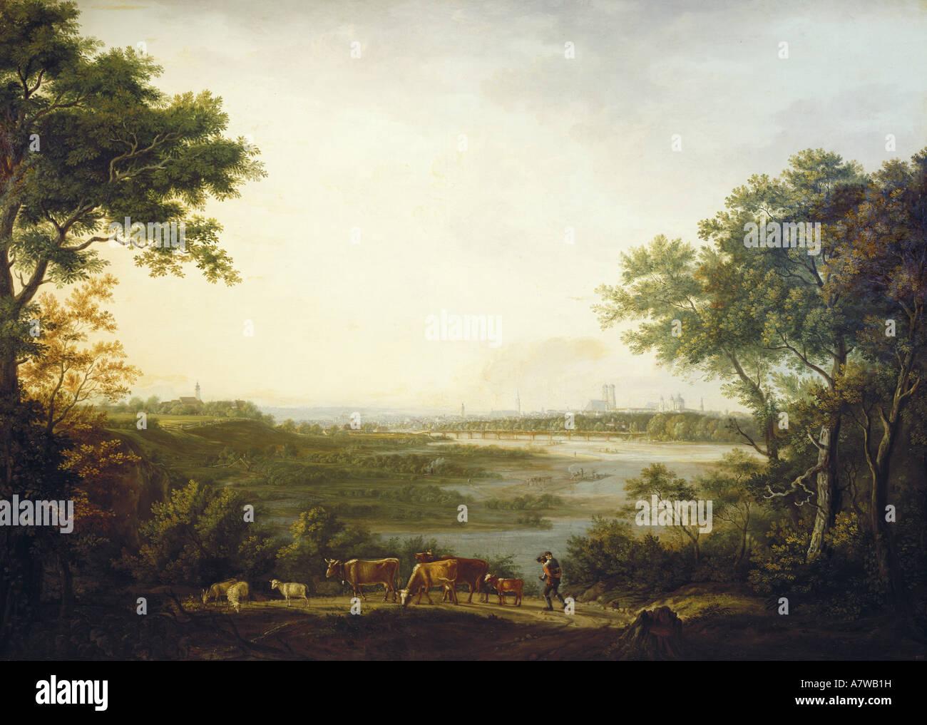 Bellas artes, Dorner, Johann Jakob, el anciano (1766 - 1813), 'Ansicht von München', pintura, 1806, óleo sobre lienzo, Foto de stock