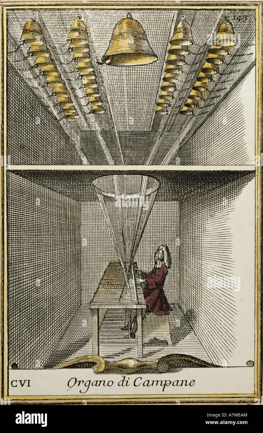 Música, instrumentos musicales, carillón, 'Organo di Campanme', grabado pintado por Arnold van Imagen De Stock