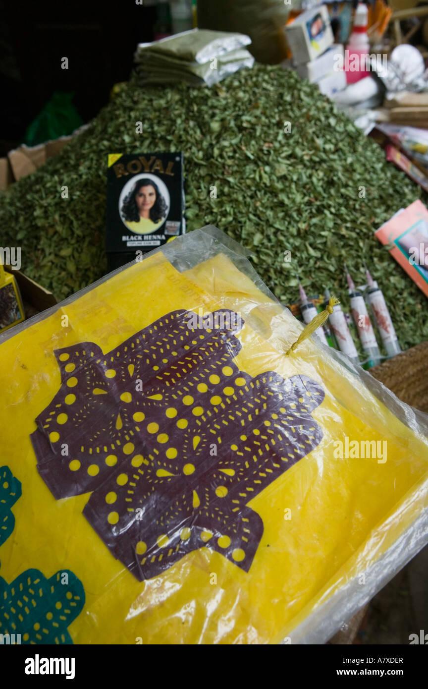 Marruecos Fes Fes El Bali Antiguo Fez Henna Souq Hojas De