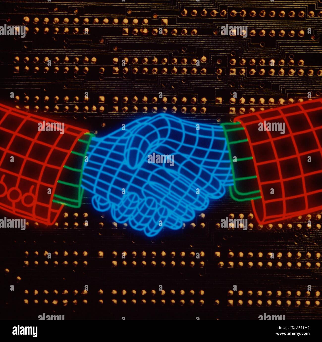 Ilustración del concepto. Apretón de manos las líneas de la cuadrícula. Imagen De Stock