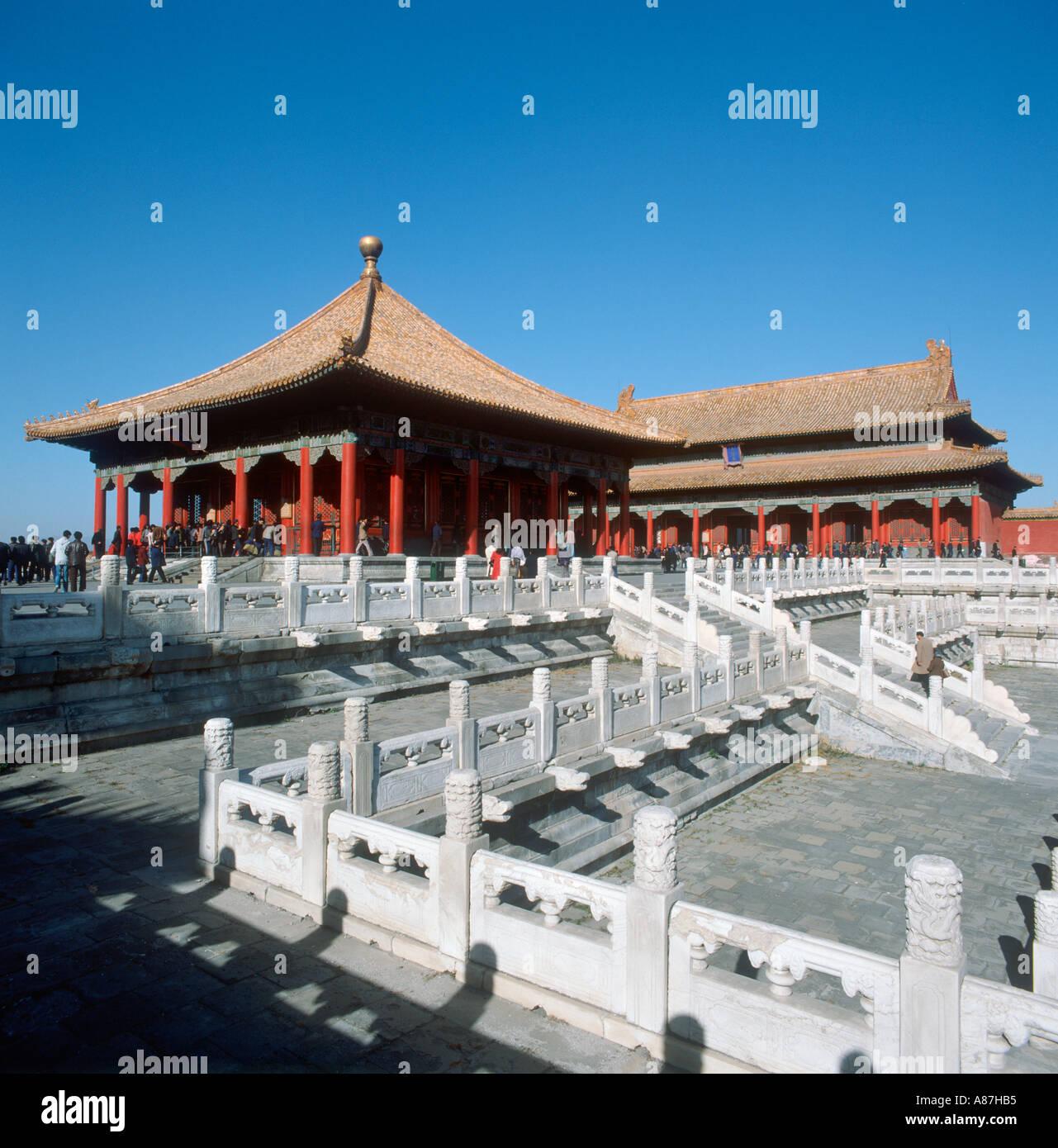 Bao él Dian Hall, el Palacio Imperial, la Ciudad Prohibida, Beijing, China. Adoptadas en 1987. Foto de stock