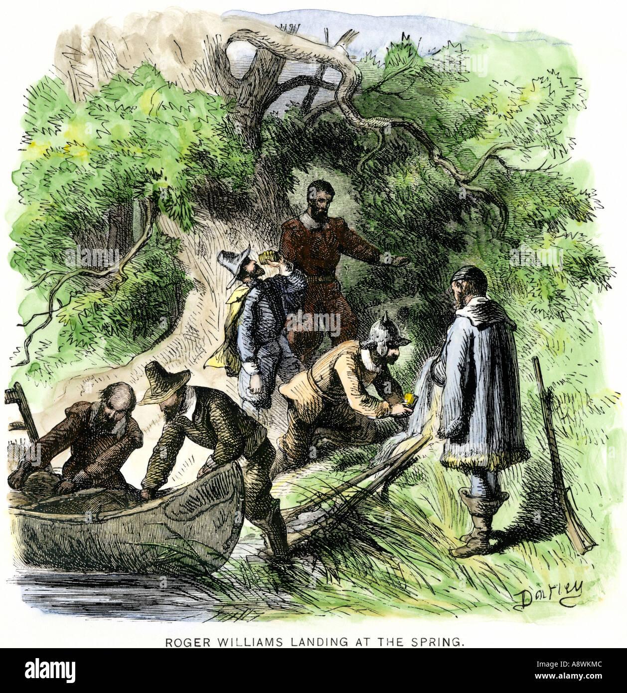 Roger Williams aterrizando en el muelle para fundar Providence Rhode Island 1636. Xilografía coloreada a mano Foto de stock