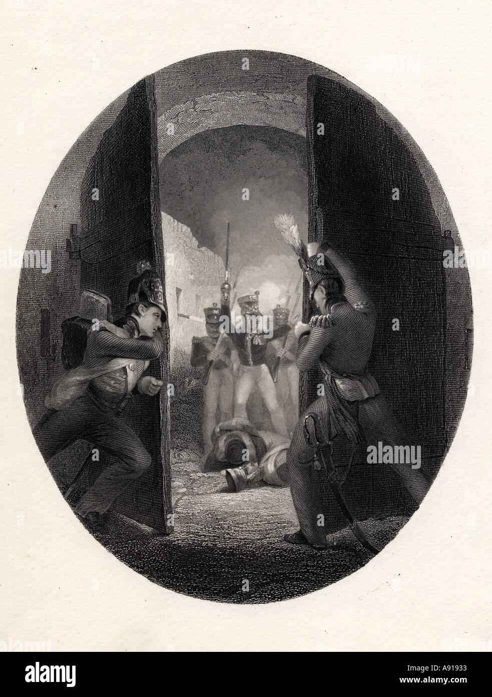 Un incidente durante la Batalla de Waterloo, Bruselas, Bélgica. Impresión del siglo XIX. Foto de stock