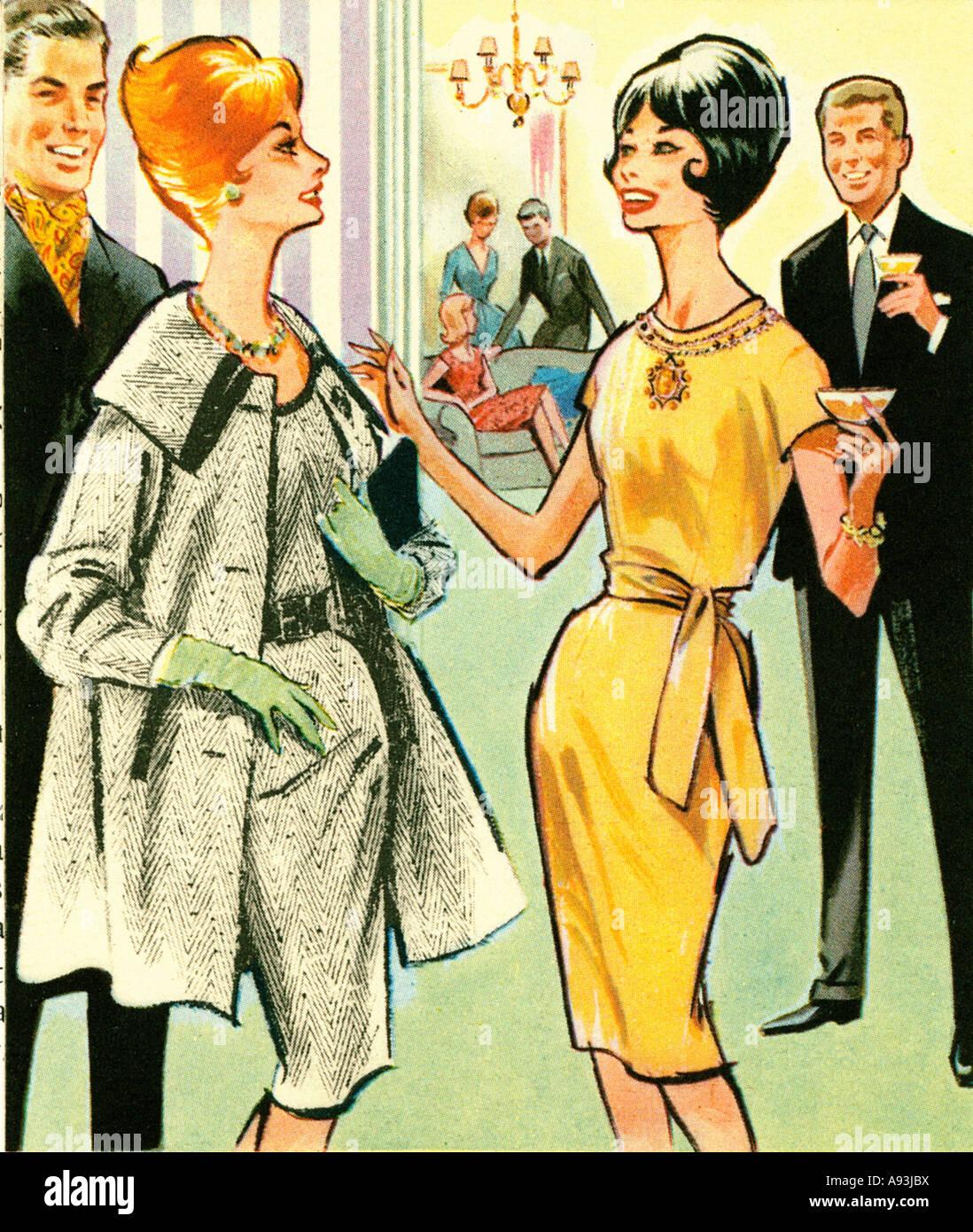 Recepción con champagne 1961 ilustración de moda badinage feliz en una fiesta Imagen De Stock